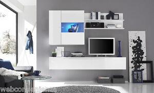 Detalles de Parete Attrezzata Primo H Bianco Mobile Porta TV da Soggiorno  Moderno Laccato