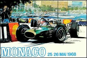 Monaco Grand Prix 1968 Vintage Poster Print Travel Car Racing Free US S//H