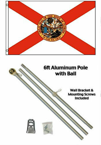 2x3 2/'x3/' State of Florida Flag Aluminum Pole Kit Gold Ball Top