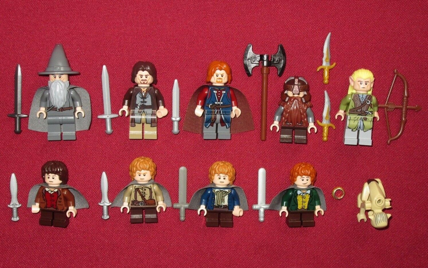 LEGO LOTR minifigures FELLOWSHIP OF THE RING LOT Gandalf,Bgoldmir,Merry,Pippin +