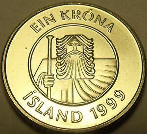 Iceland 1 kronur Giant Cod fish animal wildlife coin