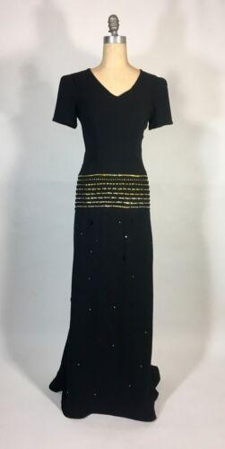 Vintage 1930's black w/gold Swarovski rhinestone &