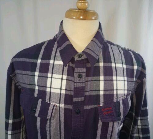 Marithe Francois Girbaud Purple Plaid Flannel Shir