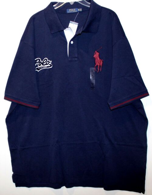 Polo Ralph Lauren Big and Tall Mens Navy Blue Big Pony Rugby Shirt Size 1xb