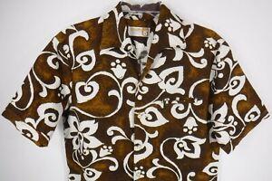 bf8e5af05403 Vtg 1960s Iolani Hawaiian Aloha Shirt Size M Barkcloth Brown White ...