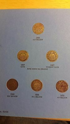 Shield Nickel, 1866-1883 Collection,  Almost Complete, 14 coins, Includes 1871