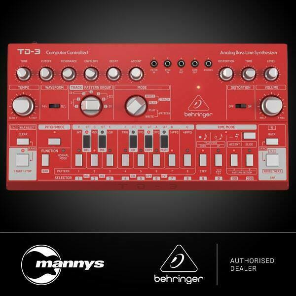 Behringer TD3 Analog Bass Line Synth w/ VCO, VCF, 16-Step Sequencer (Red)