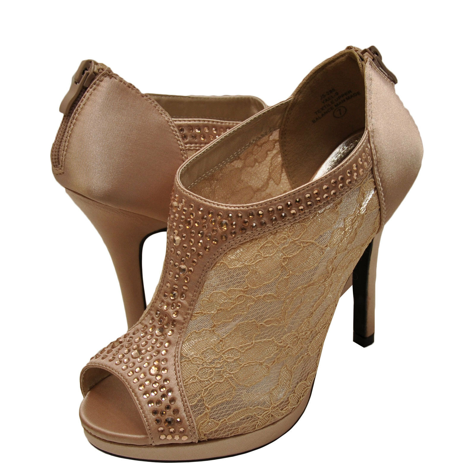 Womens shoes Blossom Yael 09 Embellished Peep Toe Lace Booties Nude New