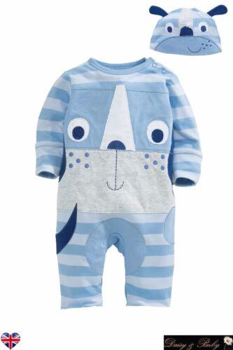 Baby sleep suit grow romper Unisex girl boy UK Cotton Hat animal blue dog UK