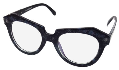 NEW LARGE CLEAR LENS GEEK FANCY DRESS GLASSES RETRO BLACK /& BLUE FLORAL  CL2