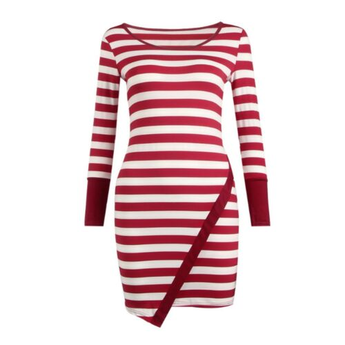 Womens White /& Red Striped Long Sleeve Stretchy Bodycon Dress Size 12-14