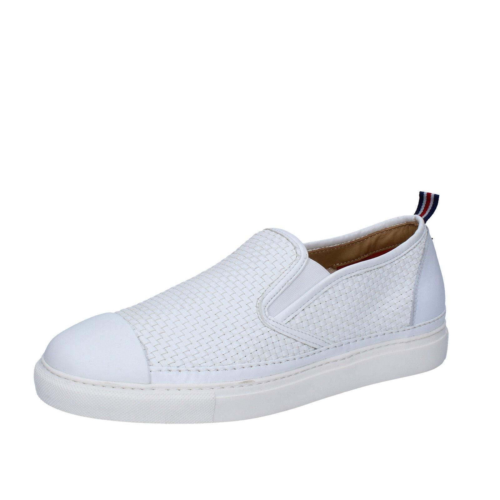 Mens shoes BRIMARTS 9 () slip on white leather BZ282-E