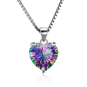 Mystic-Rainbow-Chain-Heart-shaped-Pendant-Topaz-Gems-925-Silver-Necklace-Jewelry