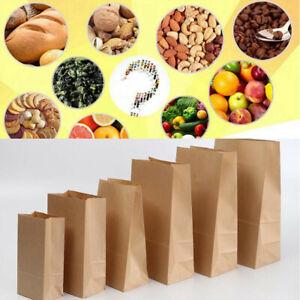 Kraft Paper Bags Brown Carrier Bags SOS Kraft Takeaway Flat Handles Food Lunch