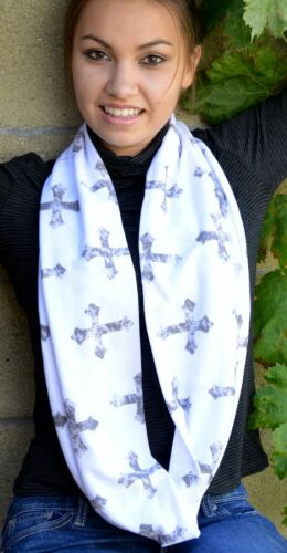 Gray Cross Stamped on Winter White Cotton Blend Infinity Scarf