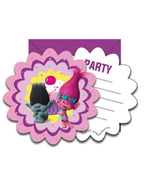 TROLLS PACK OF 6 PARTY INVITES CARDS WITH ENVELOPES NEW GIFT