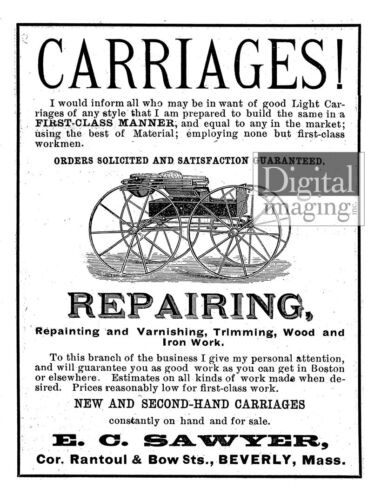 1800s Ad Reprint: E.C Beverly Sawyer Carriages MA