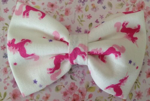 """NEW SMALL 3/"""" WHITE PINK UNICORN PRINT NOVELTY COTTON FABRIC CUTE BOW HAIR CLIP"""