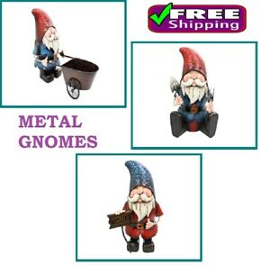 Image Is Loading Metal Garden Gnomes Hand Crafted Ornament 3