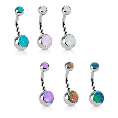 """316L Surgical Steel Navel Belly Button Ring 3/8"""" Fire Opal Stones 14 Gauge 14G"""