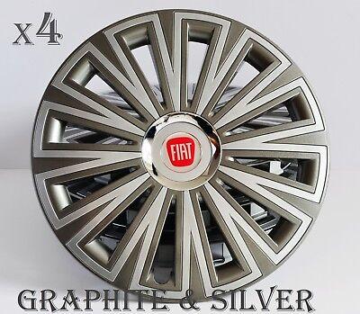 "4x14/"" Copricerchi Copricerchi Fit FIAT 500 14 pollici Grafite-Silver"