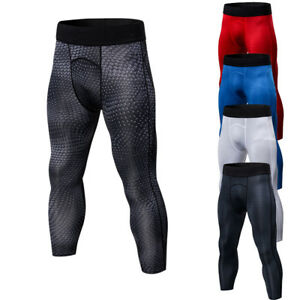 Mens-Compression-3-4-Pants-Running-Gym-Basketball-Jogging-Tights-Dri-fit-Spandex
