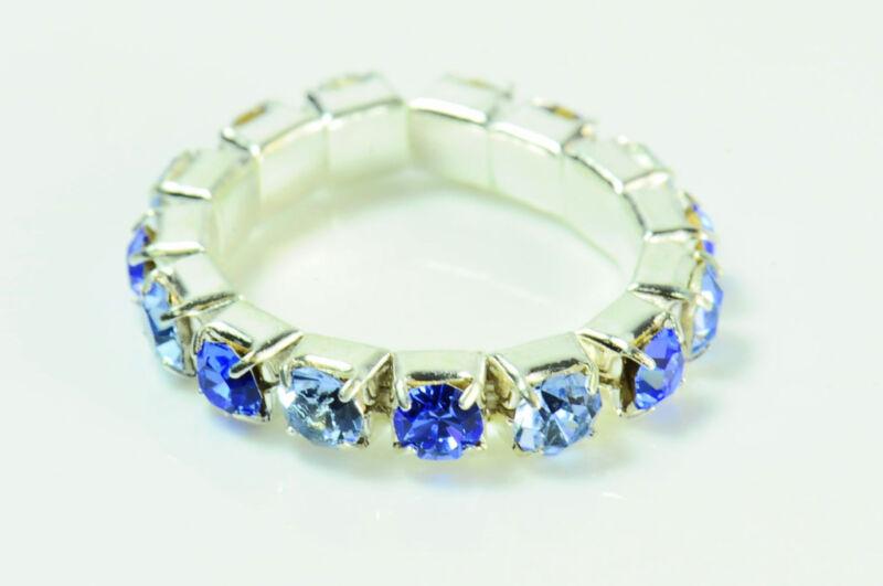 Unique Ladies Silver Diamante Blue Shades Ring Stretchable Unique (zx5)