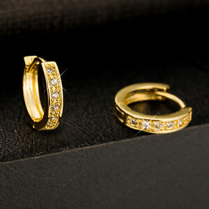 Shiny-18K-Yellow-Gold-Plated-Small-Cubic-Zirconia-CZ-Huggie-Hoop-Earrings-Gift