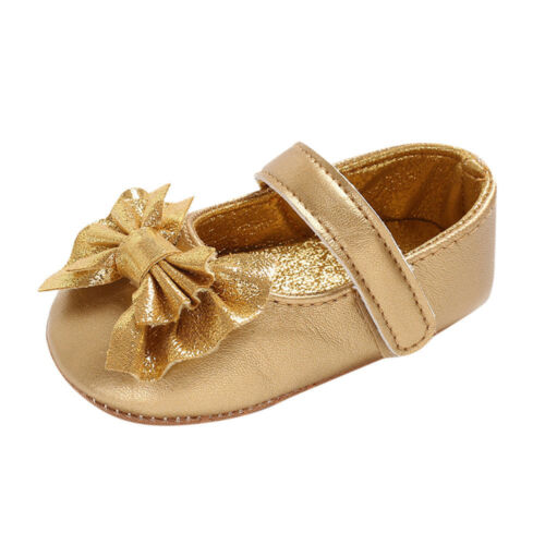 Infant Newborn Baby Baby Girls Bling Shoes Bow Soft Crib Anti-slip Single Shoes