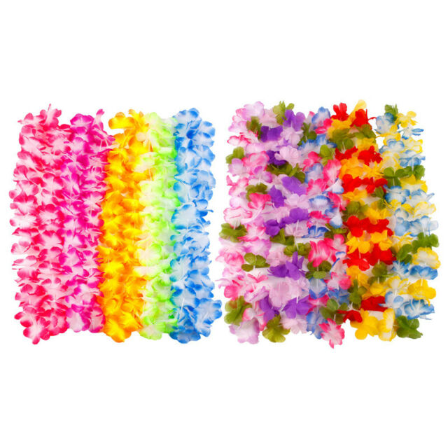 BULK LEI HAWAIIAN MULTICOLOUR  LEIS IN  FLOWER GARLAND NECKLACE FANCY DRESS