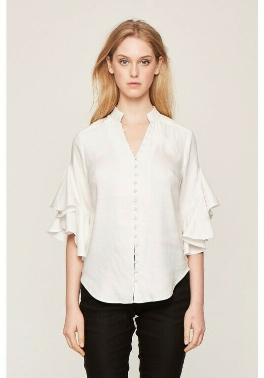 ONCE WAS Santiago Waterfall Sleeve Shirt – White  RRP  229