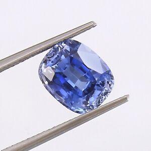Natural Flawless Kashmir Pastel Blue Sapphire Loose Cushion Gemstone Cut 5.40 Ct
