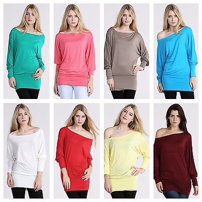 New womens off shoulder long sleeve ladies plain stretch top dress batwing
