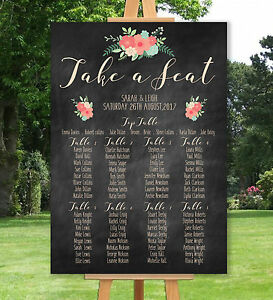 PERSONALISED-WEDDING-TABLE-SEATING-PLAN-UN-BACKED-CHALKBOARD-EFFECT-A3-A2-A1