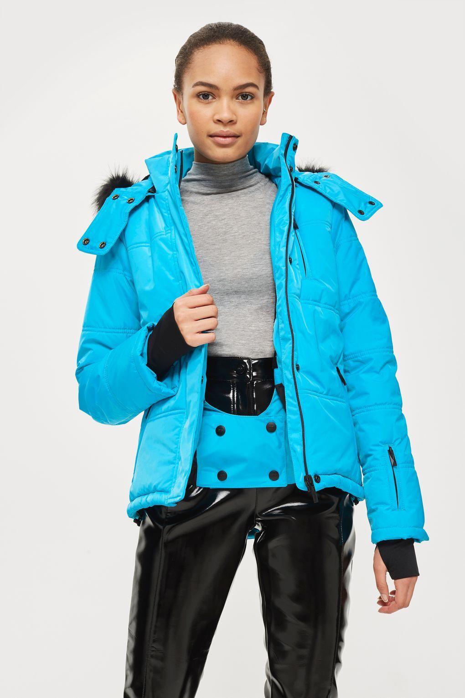 Topshop Blau Snow Ski Jacket With Faux Fur Hood Größe UK 6 12