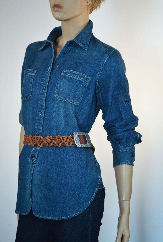 Lauren Jean Co. Denim Button Front with 2 Pockets  Blouse Shirt-Large- NWT