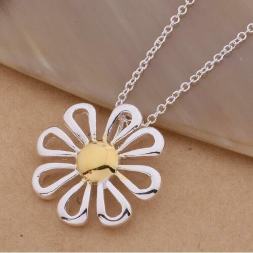 """Shiny 925 Sterling Silver Plated Two Tone Daisy Flower Pendant Necklace 18/"""" Gift"""