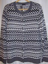 TALBOTS Fair Isle Beaded Cardigan LS Sweater NWT Multi Nylon/Lambswool 1X $109