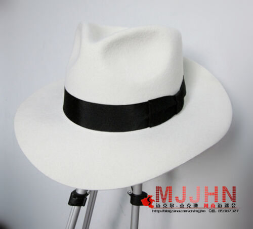 MJ Michael Jackson Smooth Criminal Name White FEDORA Wool Hat Trilby Collection
