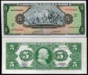 EL SALVADOR 5 COLONES 25-8-1983 P 134 UNC