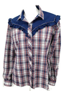 VTG-Kenny-Rogers-Karman-Blouse-Size-15-16-Western-Pearl-Snaps-Blue-Plaid-Top