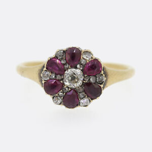 Victorian-Ruby-and-Diamond-Flower-Cluster-Ring-18ct-Yellow-Gold