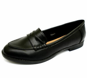 WOMENS-BLACK-SLIP-ON-LOAFERS-MOCCASINS-CASUAL-SMART-WORK-FLAT-SHOES-SIZES-3-9