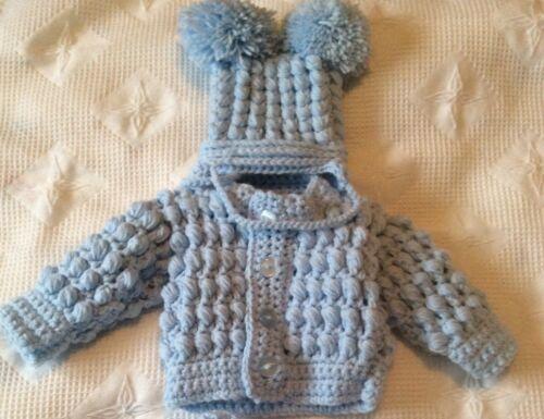 Romany Hand Crochet Boys Hat And  Cardigan Babies 0-3