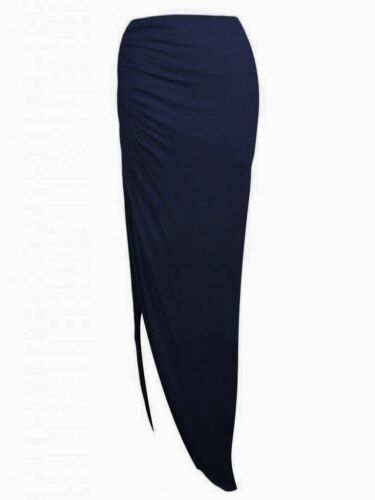 NEW LADIES WOMENS SIDE OPEN SPLIT SLIT RUCHED MAXI SKIRT STRETCH DRESS SIZE 8-14