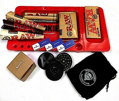 Tips Deal by Trendz Raw Black King Size Papers MontCherry Exclusive Deal Raw Special Wood Rolling Box 14 Items Bundle Ashtray Crusher