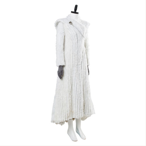 Game of Thrones S7 Daenerys Cosplay Costume Dragonstone Winter Outfit Snow Dress