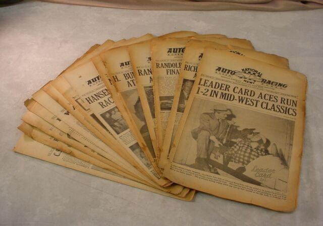 Lot 15 NATIONAL AUTO RACING NEWS 1942 SPEEDWAY Newspapers RANDOLPH BUNDY CARTER