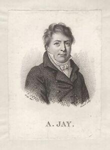 Portrait-de-Antoine-Jay-gravure-ancienne-originale-XIXe