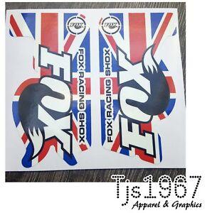 FOX RACING SHOX MTB Mountain Bike Vinyl Decals Stickers Union Jack Design 115x60  </span>